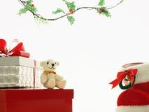 Frohe Weihnachten, Teddybär Lizenzfreies Stockfoto