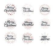 Frohe Weihnachten Typografiesatz Funkelnde Briefgestaltung der Vektorillustration Verwendbar für Fahnen, Grußkarten, Geschenke us Lizenzfreie Stockbilder