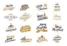 Frohe Weihnachten Typografiesatz Funkelnde Briefgestaltung der Vektorillustration Verwendbar für Fahnen, Grußkarten, Geschenke us Lizenzfreies Stockbild
