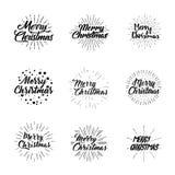 Frohe Weihnachten Typografiesatz Funkelnde Briefgestaltung der Vektorillustration Verwendbar für Fahnen, Grußkarten, Geschenke us Stockfotografie