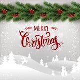 Frohe Weihnachten typografisch auf weißem Hintergrund mit Girlande von Weihnachtsbaumasten, Winterlandschaft, Schneeflocken, Lich stock abbildung
