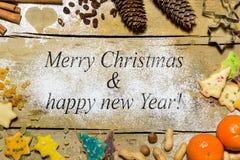 Frohe Weihnachten u. guten Rutsch ins Neue Jahr, Weihnachtsdekoration Lizenzfreie Stockfotografie