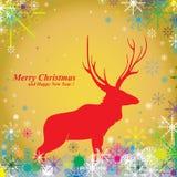 Frohe Weihnachten u. Ren auf gelbem Hintergrund Schnee im Winter Lizenzfreies Stockfoto
