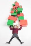 Frohe Weihnachten 2016 und Black Friday! Kleines Mädchen, Cristmas-Geschenke Lizenzfreies Stockfoto