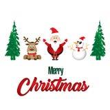 Frohe Weihnachten und Dekorationen Santa Claus Reindeer Snowman auf weißem Hintergrund lizenzfreie abbildung