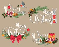 Frohe Weihnachten und ein glückliches neues Jahr Weihnachtskarten und -papier mit Dekorationen und Exemplarplatz vektor abbildung