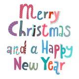 Frohe Weihnachten und eine Beschriftung des glücklichen neuen Jahres Stockfoto