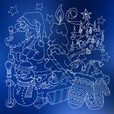 Frohe Weihnachten und glückliche neue 2016-jährige Karikatur umreißen Postkarte Lizenzfreies Stockfoto
