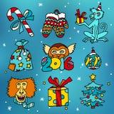 Frohe Weihnachten und glückliche neue 2016-jährige Karikatur vector Ikonen mit Affen und Geschenken Lizenzfreie Stockfotos