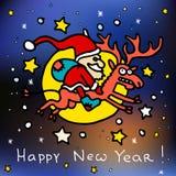 Frohe Weihnachten und glückliche neue 2016-jährige Karikaturpostkarte mit Santa Claus auf Rudolph das Ren Stockfotografie
