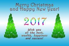 Frohe Weihnachten und glückliches neues YearNew-Jahr 2017 Lizenzfreie Stockfotografie