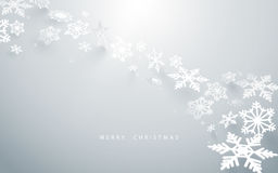 Frohe Weihnachten und guten Rutsch ins Neue Jahr Abstrakte Schneeflocken im weißen Hintergrund Lizenzfreie Stockfotografie