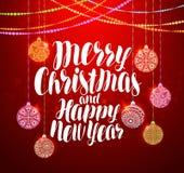 Frohe Weihnachten und guten Rutsch ins Neue Jahr, beschriftend Ausführliche 3d übertragen Auch im corel abgehobenen Betrag Lizenzfreies Stockbild