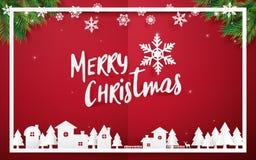 Frohe Weihnachten und guten Rutsch ins Neue Jahr Beschriftung der frohen Weihnachten mit Weihnachtsbäumen auf rotem Hintergrund P Stockfoto