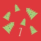 Frohe Weihnachten und guten Rutsch ins Neue Jahr Buntes Weihnachten Advent Calendar Count-down zu Weihnachten 7 Lizenzfreie Stockbilder