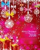 Frohe Weihnachten und guten Rutsch ins Neue Jahr 2016 Das rote Geschenk und der bunte Schnee Das weiße Ren auf dem roten und rosa Stockfotografie