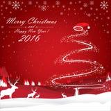 Frohe Weihnachten und guten Rutsch ins Neue Jahr 2016 Das weiße Ren und bunte der Weihnachtsbaum auf rotem Hintergrund Lizenzfreies Stockbild