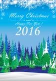 Frohe Weihnachten und guten Rutsch ins Neue Jahr 2016 Der weiße Schnee und bunte der Weihnachtsbaum auf blauem Hintergrund Stockfotos
