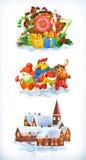 Frohe Weihnachten und guten Rutsch ins Neue Jahr 2017 Drei Farbikonen auf Pappumbauten Lizenzfreie Stockfotos