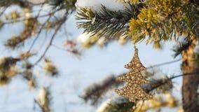 Frohe Weihnachten und guten Rutsch ins Neue Jahr Glasspielzeug auf dem Baum Stockbild