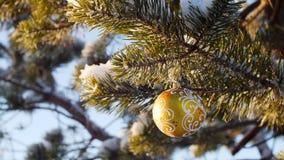 Frohe Weihnachten und guten Rutsch ins Neue Jahr Glasspielzeug auf dem Baum Stockfotografie