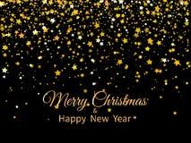 2020 frohe Weihnachten und guten Rutsch ins Neue Jahr Goldene Sterne und Text auf dunklem Hintergrund Gru?karte 2020 des neuen Ja stock abbildung