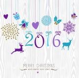 Frohe Weihnachten und guten Rutsch ins Neue Jahr hängen Retro- 2016 stock abbildung