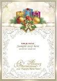 Frohe Weihnachten und guten Rutsch ins Neue Jahr 2019 Hintergrund mit Geschenkkästen Lizenzfreie Stockbilder