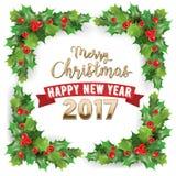 Frohe Weihnachten 2017 und guten Rutsch ins Neue Jahr-Holly Berries Winter Holidays Greeting-Karte Lizenzfreie Stockbilder