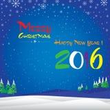 Frohe Weihnachten und guten Rutsch ins Neue Jahr im Winter Der bunte Schnee im Himmel auf blauem Hintergrund Lizenzfreie Stockbilder