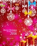 Frohe Weihnachten und guten Rutsch ins Neue Jahr 2016 Mit dem Farbvollen Schnee auf dem roten Hintergrund Stockbild