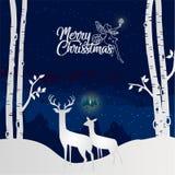 Frohe Weihnachten und guten Rutsch ins Neue Jahr mit dem Ren zwei, das Dow schaut lizenzfreie abbildung