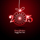 2015 frohe Weihnachten und guten Rutsch ins Neue Jahr mit Feuerwerk Stockfotografie