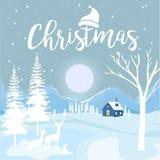 Frohe Weihnachten und guten Rutsch ins Neue Jahr mit Häuschen und Schneeflocken auf blauem Hintergrund, Weihnachtswerbekonzeption lizenzfreie abbildung