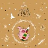 Frohe Weihnachten und guten Rutsch ins Neue Jahr 2019 mit lustigem rosa Schwein Entwurfsschablone des neuen Jahres für Druckpostk stockfoto