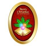 Frohe Weihnachten und guten Rutsch ins Neue Jahr mit ovalem Rahmen, rotem Hintergrund, Blatt und Glocken Lizenzfreie Stockfotos