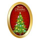 Frohe Weihnachten und guten Rutsch ins Neue Jahr mit ovalem Rahmen, Weihnachtsbaum und Verzierung Stockfotos