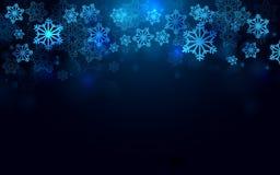 Frohe Weihnachten und guten Rutsch ins Neue Jahr mit Schneeflockenhintergrund Lizenzfreie Stockfotos