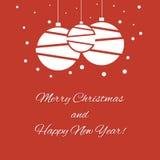 Frohe Weihnachten und guten Rutsch ins Neue Jahr 2015 mit Weihnachtsbällen Lizenzfreies Stockfoto