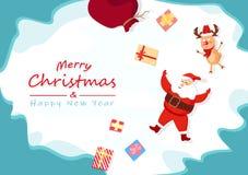 Frohe Weihnachten und guten Rutsch ins Neue Jahr, netter Weihnachtsmann, Ren a vektor abbildung