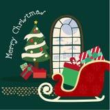 Frohe Weihnachten und guten Rutsch ins Neue Jahr, Sankt in einem Pferdeschlitten mit reind stock abbildung