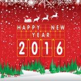 Frohe Weihnachten und guten Rutsch ins Neue Jahr 2016 Santa Claus und rotes Ren Der Weihnachtsbaum und der Schnee auf rotem Hinte Lizenzfreie Stockfotografie