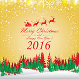 Frohe Weihnachten und guten Rutsch ins Neue Jahr 2016 Santa Claus und rotes Ren Der Weihnachtsbaum und der Schnee auf rotem Hinte Stockbilder