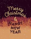 Frohe Weihnachten und guten Rutsch ins Neue Jahr Typografisches Schmutzweinlese Weihnachtskartendesign mit Winterlandschaft Retro Stockfotografie