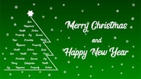 Weihnachtsbaum Der Guten Wünsche.Frohe Weihnachten Roter Text Und Weihnachtsbaum Auf Einem