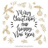 Frohe Weihnachten und guten Rutsch ins Neue Jahr Weihnachtsmann auf einem Schlitten stock abbildung