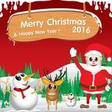 Frohe Weihnachten und guten Rutsch ins Neue Jahr 2016 Weihnachtsmann und Ren Der weiße Schnee und das Weihnachtszubehör auf rotem Lizenzfreie Stockbilder