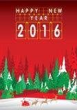 Frohe Weihnachten und guten Rutsch ins Neue Jahr 2016 Weihnachtsmann und Ren Der Weihnachtsbaum und der Schnee auf rotem Hintergr Lizenzfreie Stockbilder
