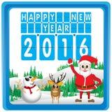 Frohe Weihnachten und guten Rutsch ins Neue Jahr 2016 Weihnachtsmann und Ren Der Weihnachtsbaum und der Schnee auf weißem Hinterg Stockbild