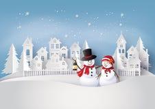 Frohe Weihnachten und Schneemann im Dorf lizenzfreie abbildung